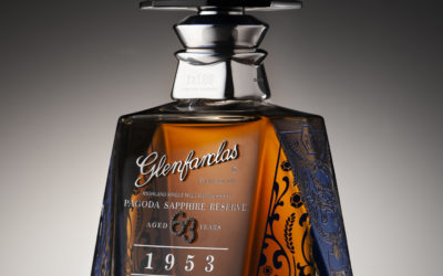 Limited-edition Pagoda Sapphire Reserve completes Glenfarclas Pagoda Series in Glencairn Crystal decanters decorated with real sapphires